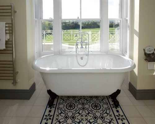 view from the bath in Master Ensuite across the Downs