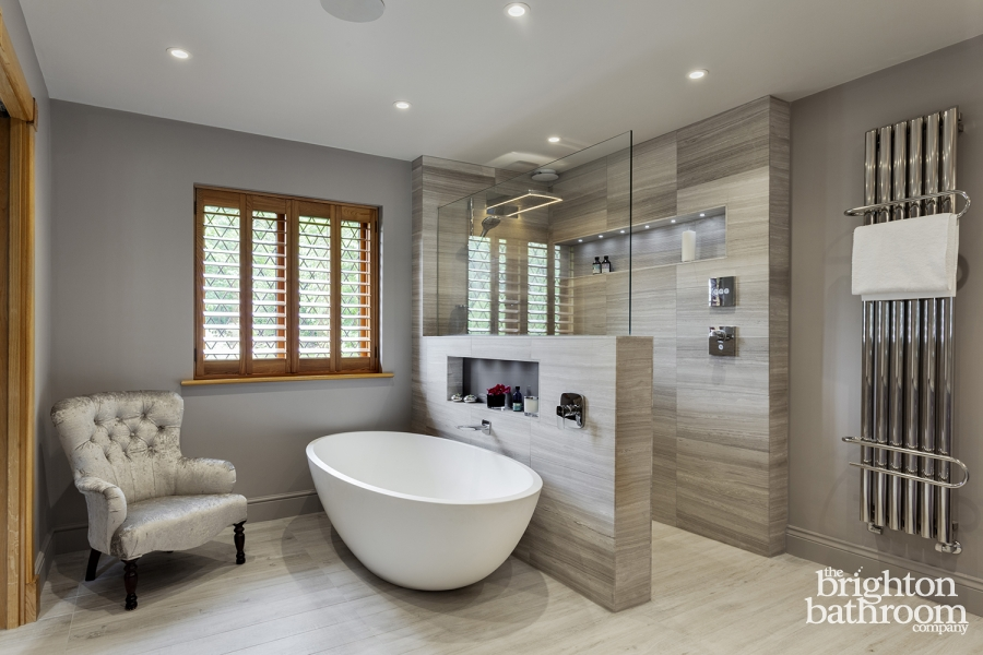Stunning master wetroom with walk through dressing room for Bathroom dressing ideas