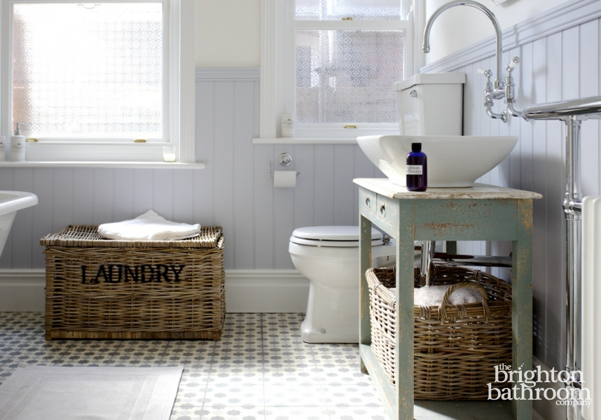Quirky on Trend Family Bathroom with Bespoke Cabinet Surrenden