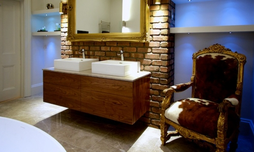 Image: Luxury Bathroom Hove with Bespoke Vanity, Steamroom & Gold Detailing
