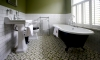 Simple classic bathroom with encaustic floortiles —Clermont Terrace, Brighton