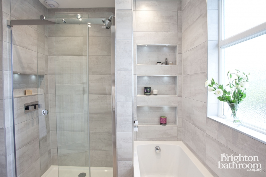 Soft grey family bathroom with recessing Hove The Brighton