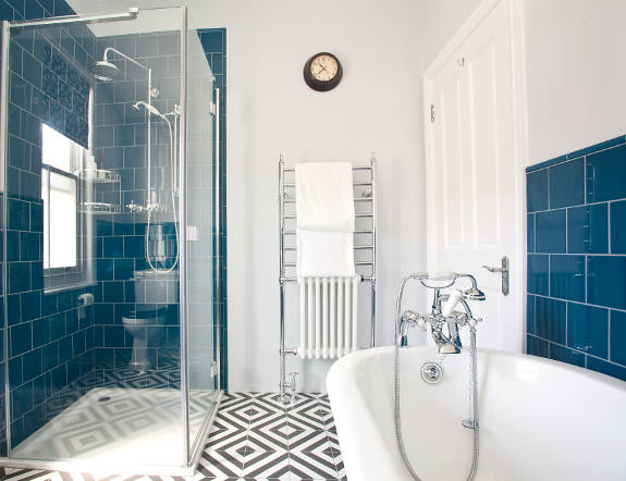 Blue and white bathroom design image