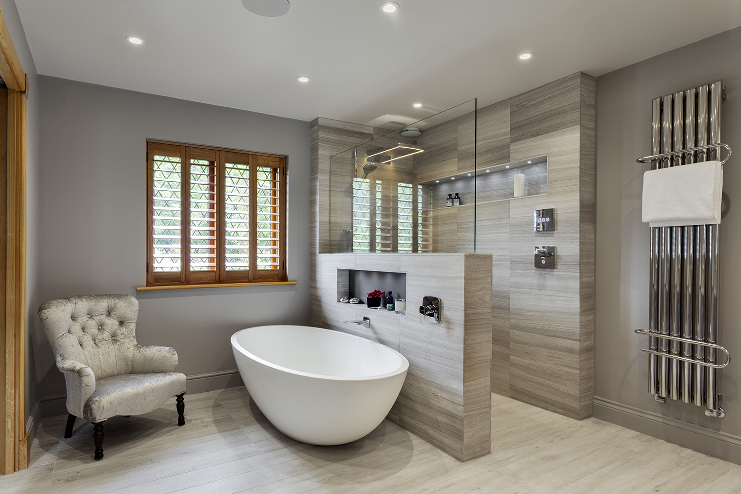 Stunning master wetroom with walk through dressing room for Bathroom design uk