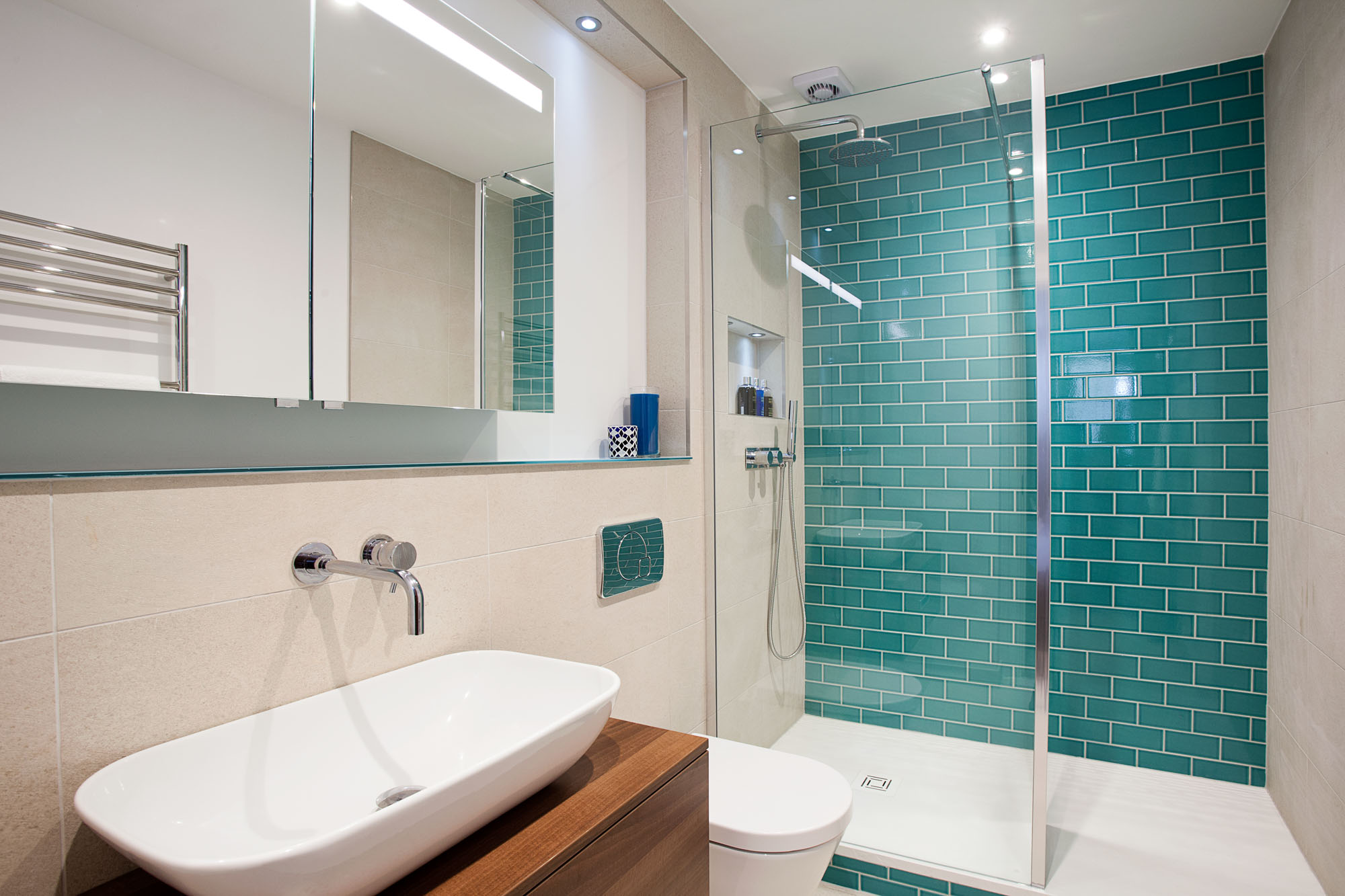 Ensuite Large Shower Featuring Monceau Teal Crackle Tiles