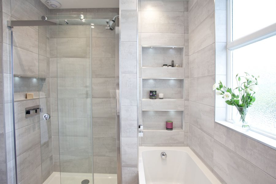 Soft grey family bathroom with recessing for Bathroom refurbishment ideas