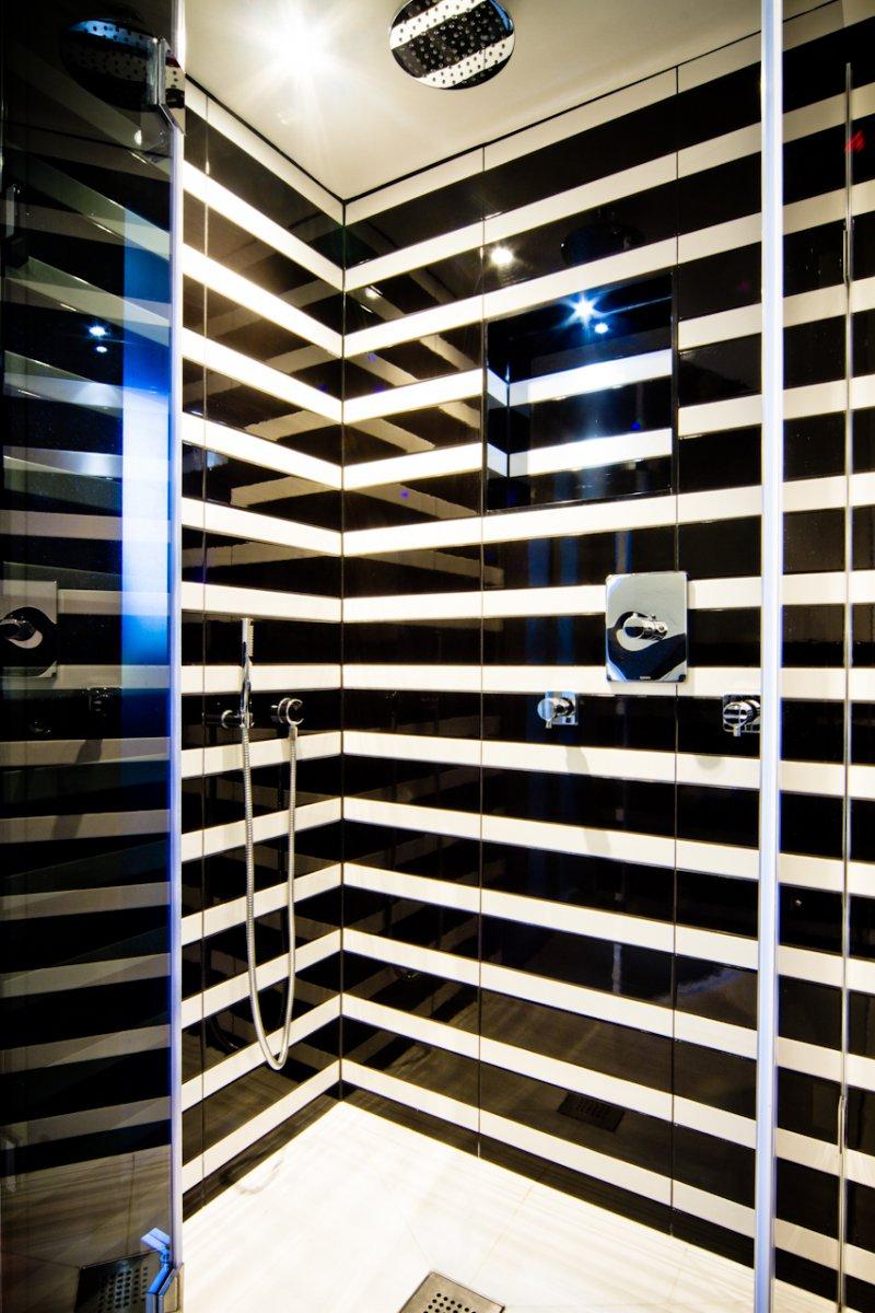 Funky Black And White Striped Loft Bathroom Dyke Road Hove The Brighton Bathroom Company