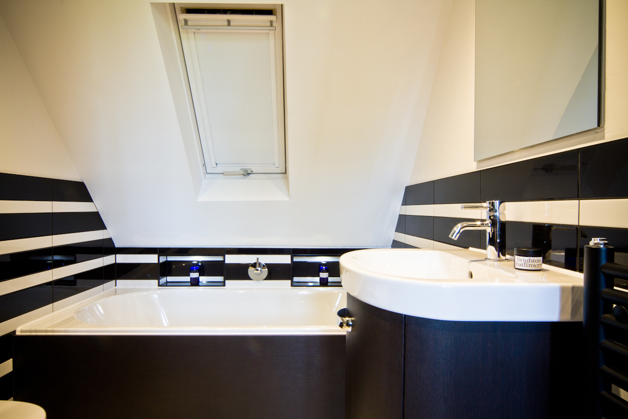 Funky Black And White Striped Loft Bathroom Dyke Road Hove The Brighton Bathroom Company