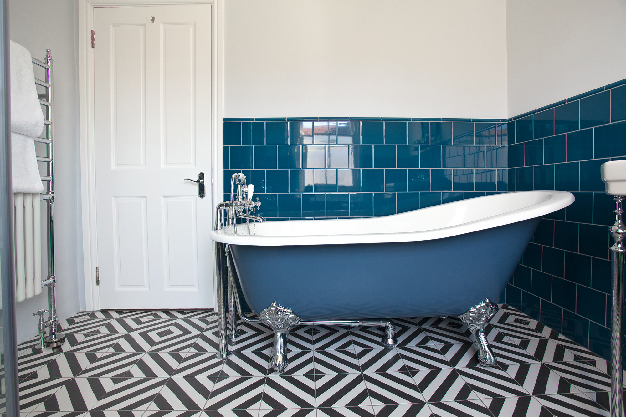 Blue Tiled Main Bathroom With Slipper Bath And Geometric Flooring Hove The Brighton Bathroom