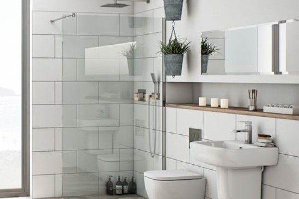 alcove shelving small bathroom