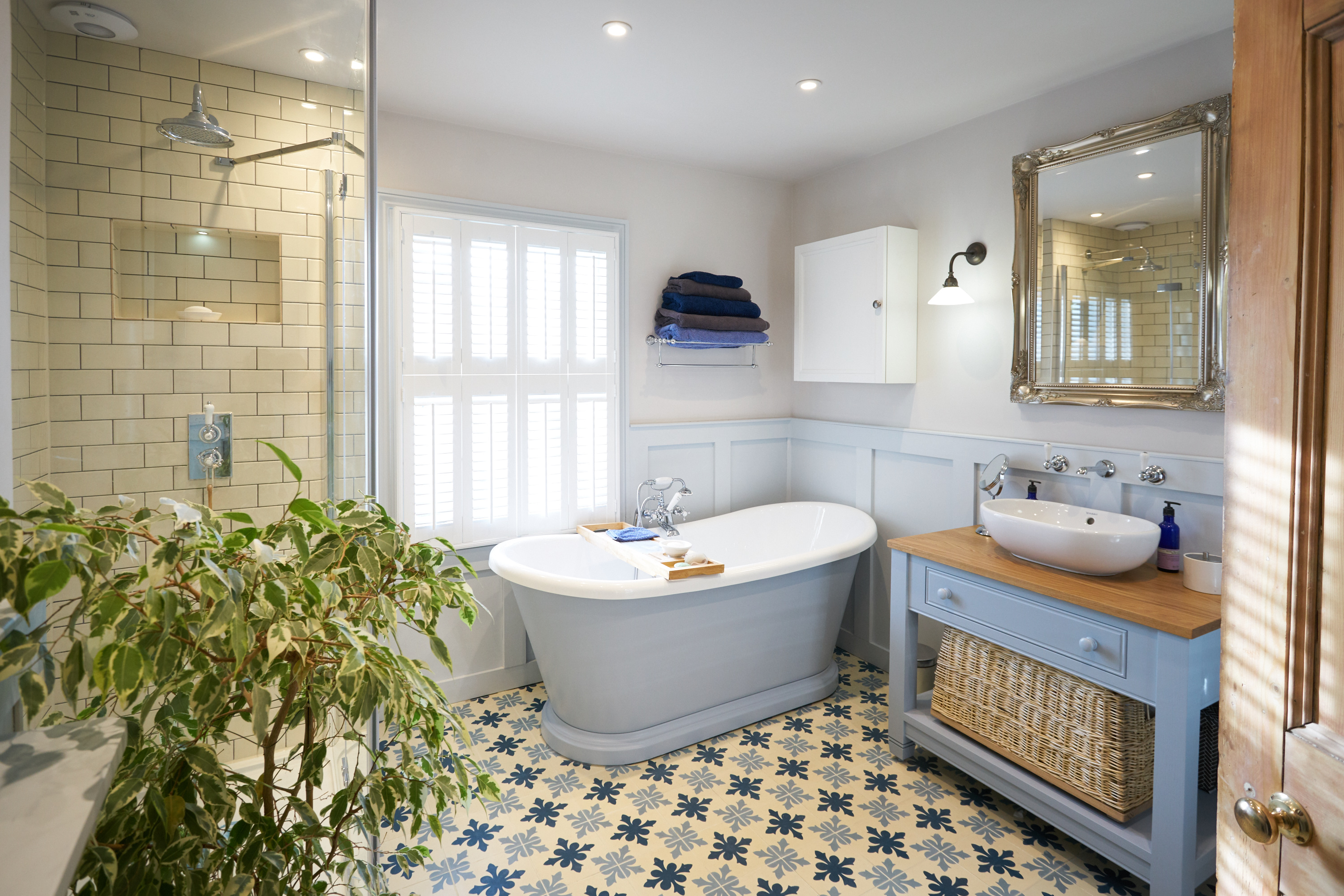 Bon Ditchling: Wood Panelled Main Bathroom With Encaustic Flooring And Large  Shower